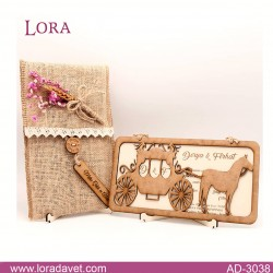 Lora Ahşap Davetiyeler - 3038